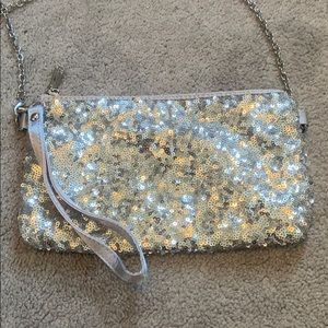 Charming Charlie Silver Sequin Small Purse